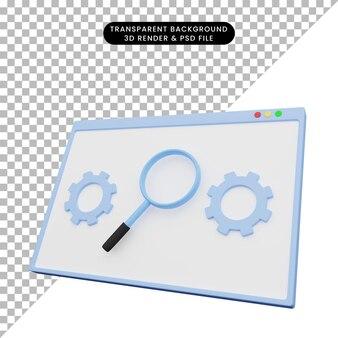 3d ilustracja ilustracji internetowej z ikoną powiększania i koła zębatego