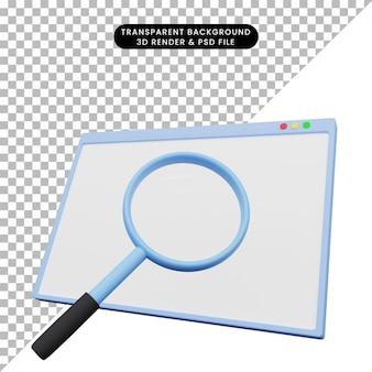 3d ilustracja ilustracji internetowej z powiększeniem