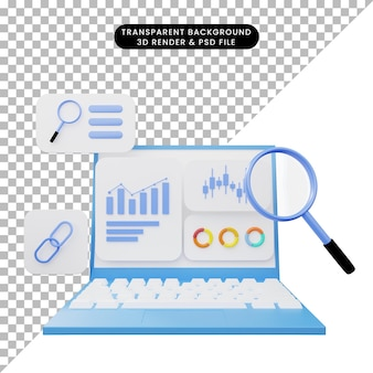 3d ilustracja interfejsu użytkownika na laptopie