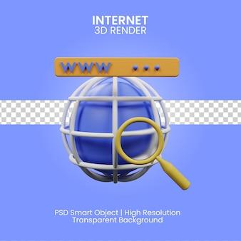 3d ilustracja internet na białym tle