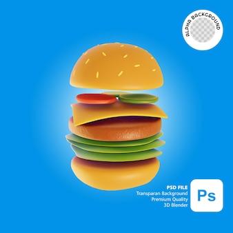 3d ilustracja jedzenie burgera