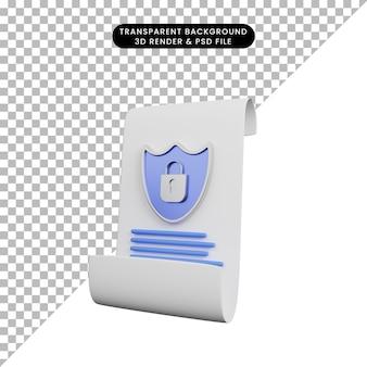 3d ilustracja kłódki tarczy z papierem koncepcja bezpieczeństwa
