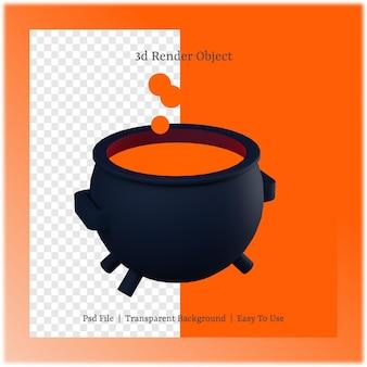 3d ilustracja kocioł z koncepcją dnia halloween