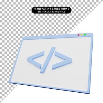 3d ilustracja kodowania ilustracji internetowych