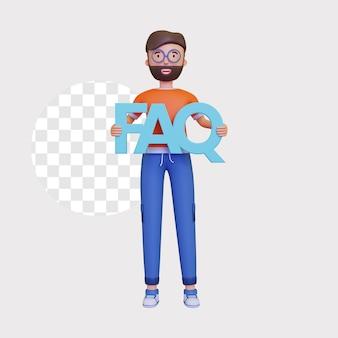 3d ilustracja koncepcja faq