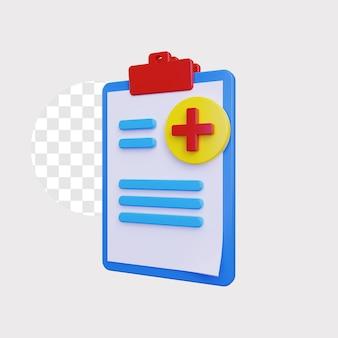 3d ilustracja koncepcja raportu medycznego