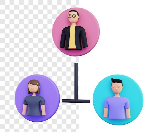 3d ilustracja koncepcja renderowania grupy na białym tle