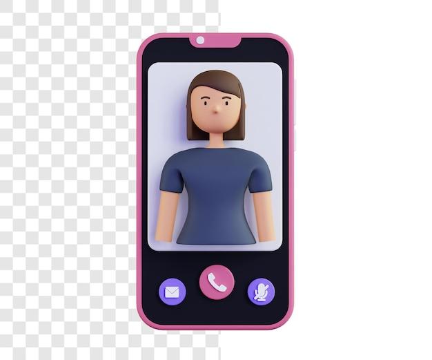 3d ilustracja koncepcja rozmowy wideo z kobietą