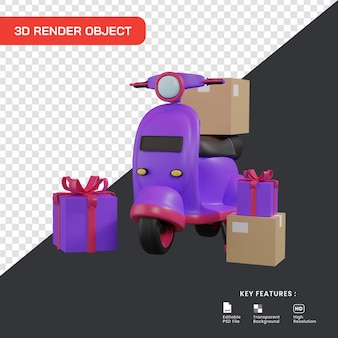 3d ilustracja koncepcja usługi dostawy. skuter z paczkami i pudełkiem prezentowym.