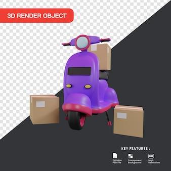 3d ilustracja koncepcja usługi dostawy. skuter z pakietami pudełek.