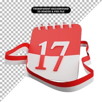 3d ilustracja koncepcji dnia niepodległości indonezyjski kalendarz z 17 datami i indonezyjskimi flagami wstążkowymi