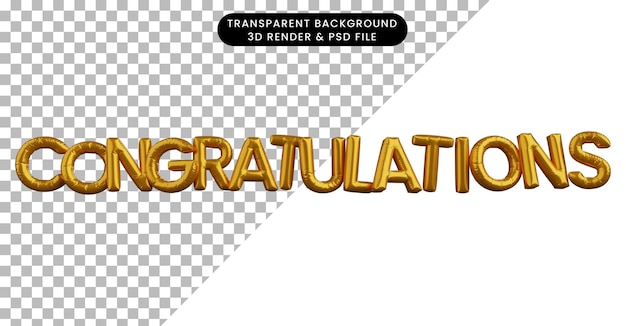 3d ilustracja koncepcji złotego balonu z gratulacjami tekstowymi