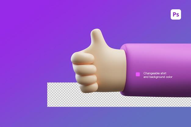 3d ilustracja kreskówka ręka kciuk w górę gest