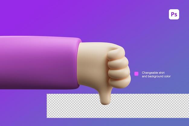 3d ilustracja kreskówka ręka niechęć lub gest kciuka w dół