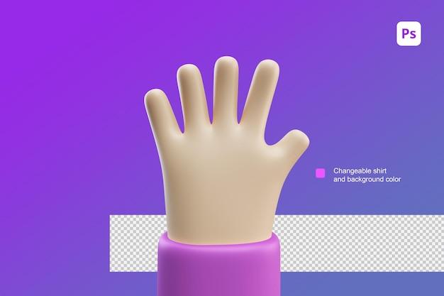 3d ilustracja kreskówka ręka piątka gest