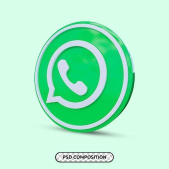 3d ilustracja logo whatsapp na białym tle