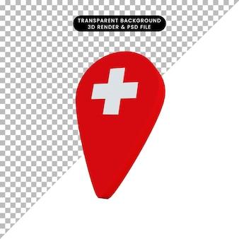 3d ilustracja lokalizacji zdrowej ikony
