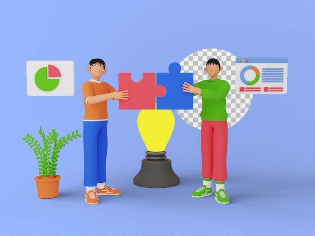 3d ilustracja ludzi pracy zespołowej z kawałkiem układanki