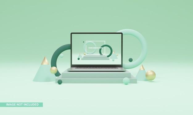 3d ilustracja makieta laptopa z przodu