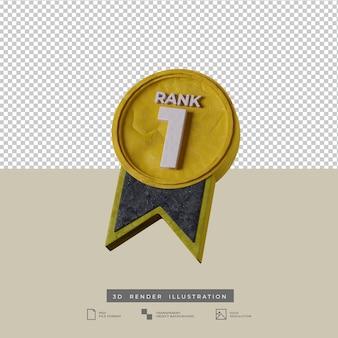 3d ilustracja medal rangi 1 ikona