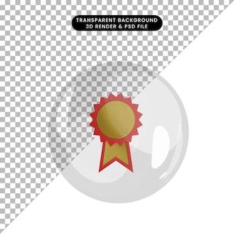3d ilustracja medalu nagrody obiektu wewnątrz bąbelków