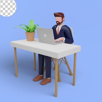 3d ilustracja mężczyzna pracujący w biurze