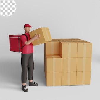 3d ilustracja mężczyzny przewożącego przesyłkę do magazynu. psd premium