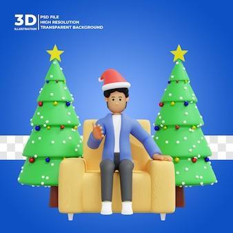 3d ilustracja mężczyzny świętującego boże narodzenie w domu premium psd