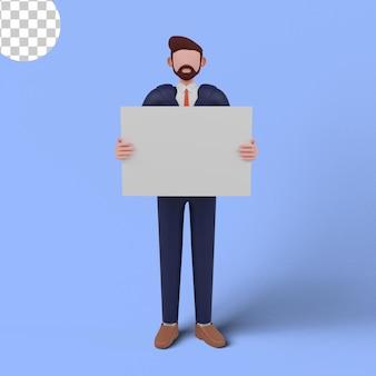 3d ilustracja mężczyzny trzymającego białą tablicę