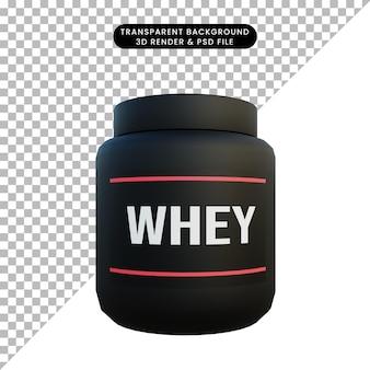 3d ilustracja mleka białka serwatkowego