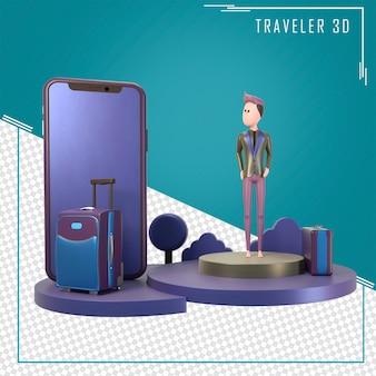 3d ilustracja młodego podróżnika stojącego przed smartfonem