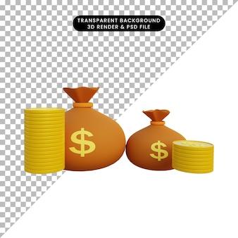 3d ilustracja monety i worek pieniędzy