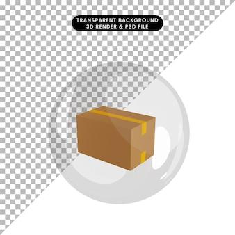 3d ilustracja opakowania obiektu wewnątrz bąbelków