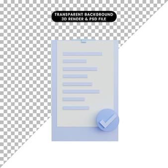 3d ilustracja papierowa lista kontrolna