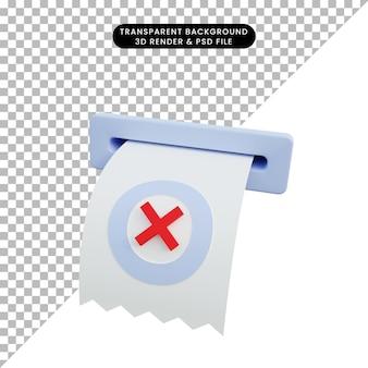 3d ilustracja papierowej faktury z drukowania z ikoną krzyżyka