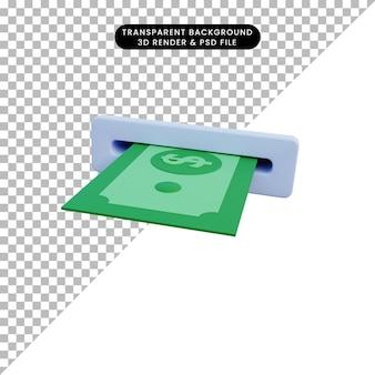 3d ilustracja pieniędzy z druku