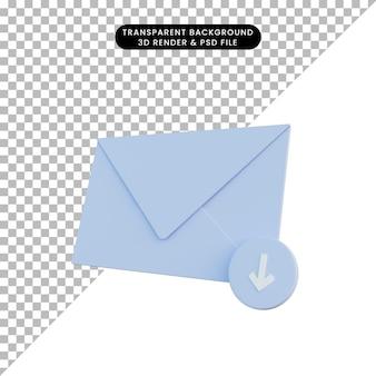 3d ilustracja poczta z ikoną pobierania