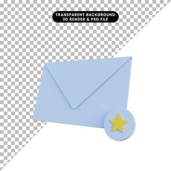 3d ilustracja poczta z ulubioną ikoną