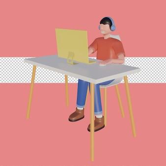 3d ilustracja postaci happy freelancer z komputerem w domu