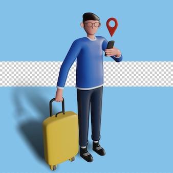 3d ilustracja postaci jadącej na wakacje, trzymając smartfona