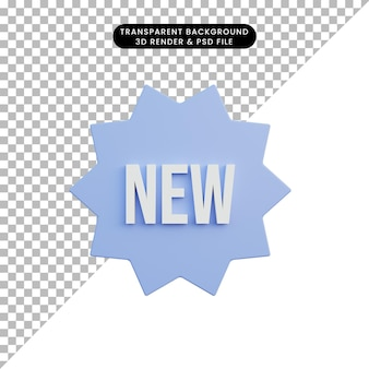 3d ilustracja prosta ikona nowy tekst z odznaką