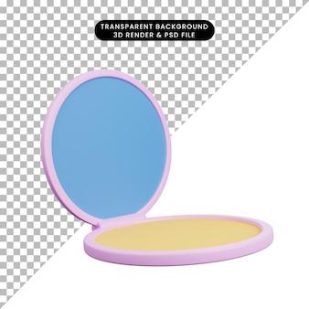 3d ilustracja prosta ikona piękna obiektu makijaż w proszku