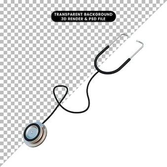 3d ilustracja prosta ikona stetoskop