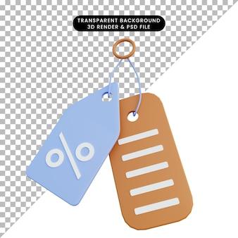 3d ilustracja prosta ikona znacznika rabatowego