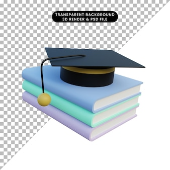 3d ilustracja prosta książka obiektowa i kapelusz toga