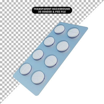 3d ilustracja prosta tabletka tabletek
