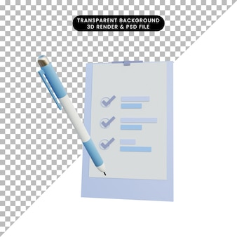 3d ilustracja proste dane raportu obiektu
