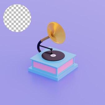 3d ilustracja prostego gramofonu obiektowego