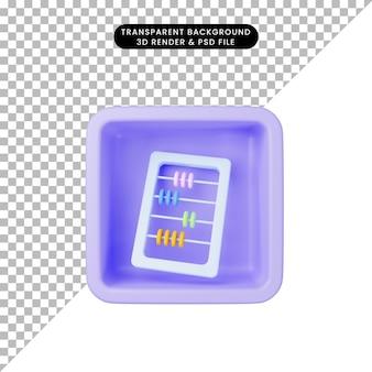 3d ilustracja prostego liczydła ikony na sześcianie