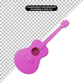 3d ilustracja prostego obiektu gitara instrument muzyczny